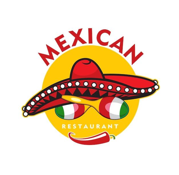 Icono de restaurante mexicano, vector de ají jalapeño, maracas y sombrero sombrero. elemento de diseño de dibujos animados para el menú de café latino, emblema con símbolos tradicionales de méxico aislado sobre fondo blanco.