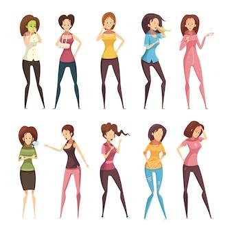 El icono retro de la historieta de la mujer enferma coloreada y aislada fijó con diversas mujeres vector el ejemplo