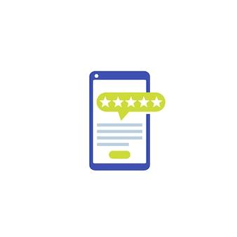 Icono de revisión de la aplicación móvil en blanco