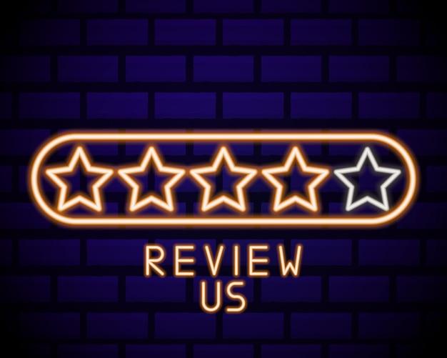 Icono de revisión de cliente en estilo de línea de neón. símbolo del concepto de comentarios del usuario.