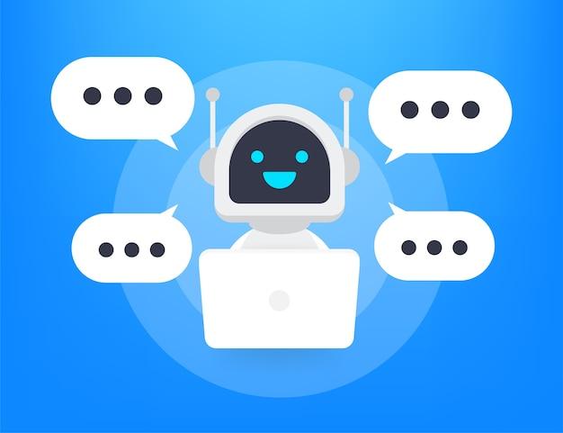 Icono de robot. signo de bot. concepto de símbolo de chatbot. bot de servicio de soporte de voz. bot de soporte en línea. ilustración.