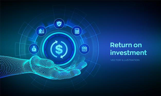 Icono de roi en mano robótica. concepto de negocio y tecnología de retorno de la inversión. estrategia de ganancias o ingresos financieros.