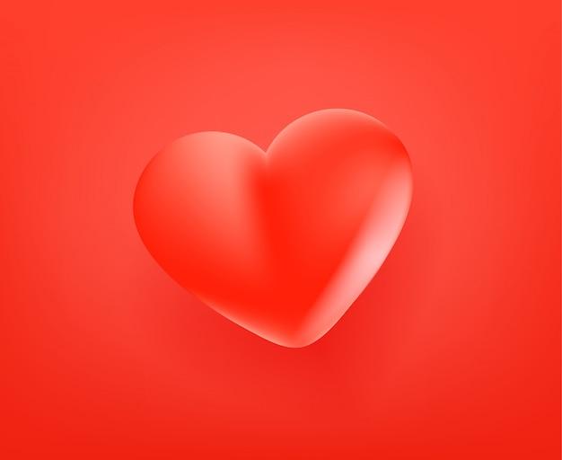 Icono rojo lindo corazón. estilo cómico 3d