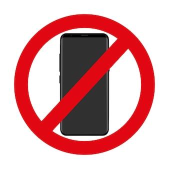 Icono rojo que niega el uso del teléfono en blanco.
