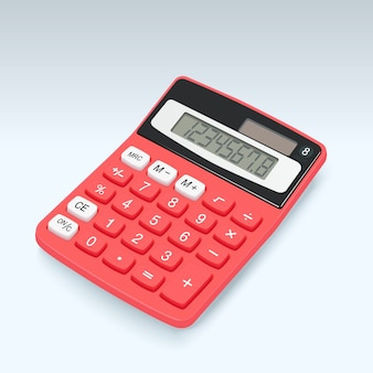 Icono rojo realista del vector de la calculadora aislado