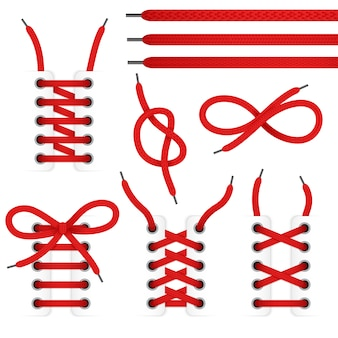 El icono rojo de los zapatos del cordón fijó con los cordones atados y desatados aislados en el fondo blanco