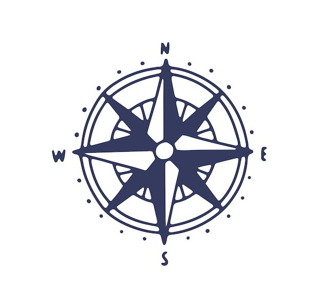 Icono de rosa de los vientos. ilustración de brújula minimalista con puntos cardinales, señales de dirección aisladas en blanco