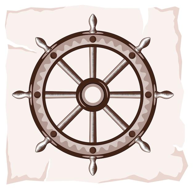 Icono de rueda de barco viejo