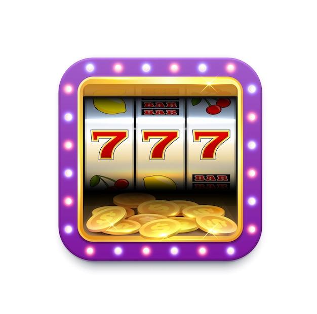 Icono de la ruleta de la máquina tragamonedas de casino, jackpot del juego