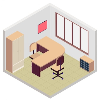 Icono de sala de oficina isométrica