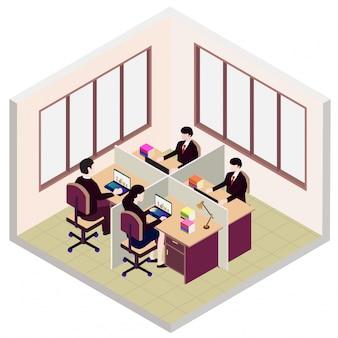 Icono de sala de oficina webisométrica, con empleado.