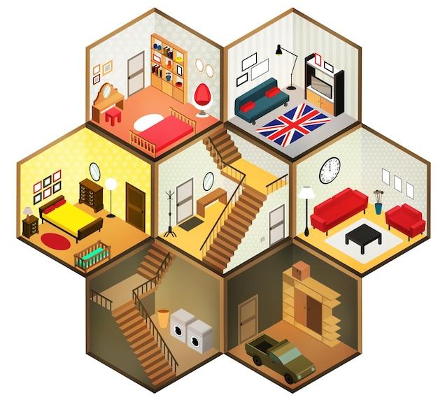 Icono de salas de estar isométricas