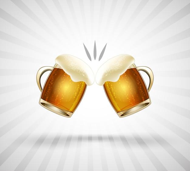 Icono de saludos. dos vasos llenos hasta el borde con espuma de cerveza. ilustración vectorial