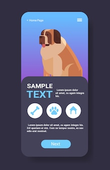 Icono de san bernardo lindo perro peludo humano amigo mascota sitio web o tienda en línea animal de dibujos animados teléfono inteligente pantalla aplicación móvil vertical