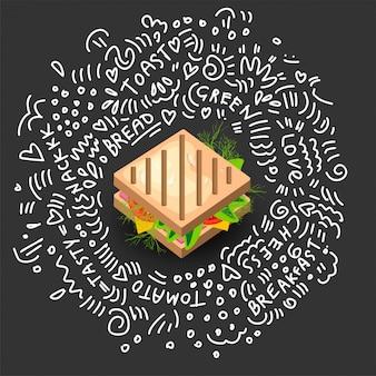 Icono de sandwich a la parrilla en estilo de dibujos animados.