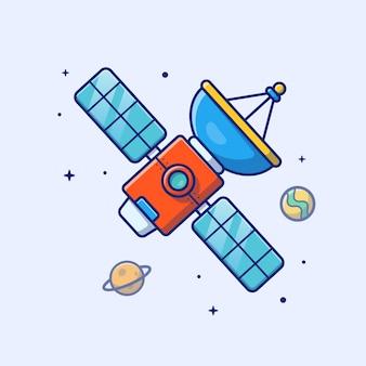 Icono de satélite satélite, planeta, estrellas y tierra, espacio icono blanco aislado