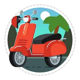 Icono de scooter vintage en diseño plano