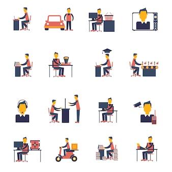 Icono sedentario plano
