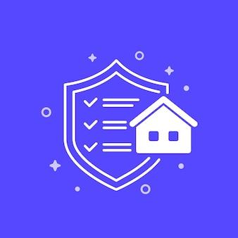 Icono de seguro de casa con hogar y escudo