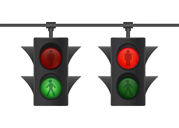 Icono de semáforo. señal peatonal semáforo humano para. icono para web. ilustración.