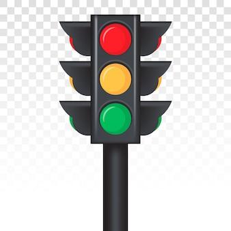 Icono de señal de luz de control de semáforo / control de tráfico para aplicaciones y sitios web con señal roja, amarilla y verde sobre un fondo transparente