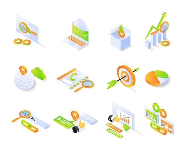 Icono de seo con paquete o conjuntos de estilo isométrico vector premium moderno