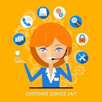 Icono de servicio al cliente de una chica de centro de llamadas muy sonriente con un auricular rodeado de varios iconos web en línea para la seguridad de búsqueda de pago wifi y las redes sociales