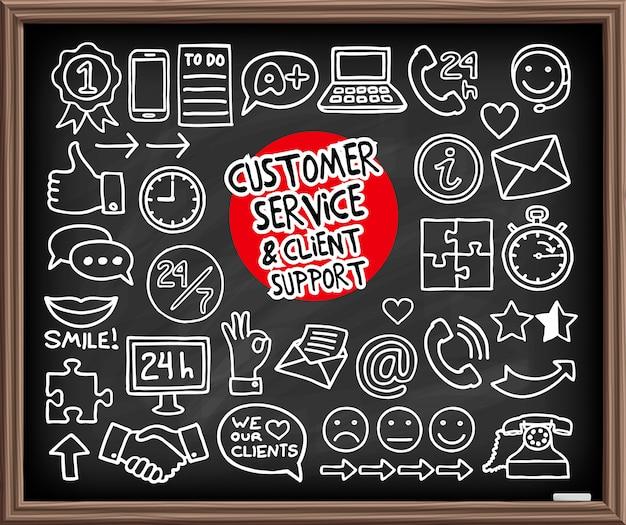 Icono de servicio al cliente de doodle