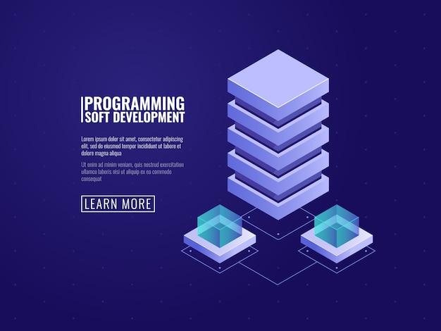 Icono de servicio de alojamiento, sala de servidores, concepto de base de datos y centro de datos, almacenamiento en la nube