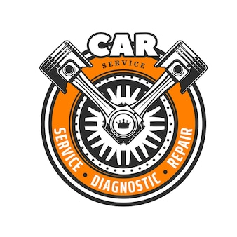 Icono de servicio de coche con rueda y pistones cruzados