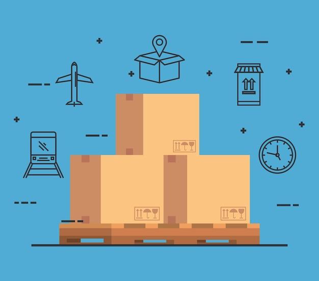 Icono de servicio de entrega de caja