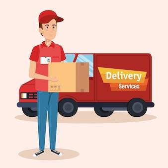 Icono de servicio de entrega de camión