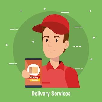 Icono de servicio de entrega de personaje de mensajero