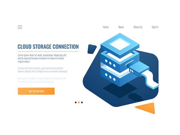 Icono de servicio en la nube, sistema de copia de seguridad y almacenamiento de datos remotos de banners, sala de servidores