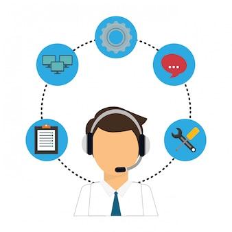 Icono de servicio técnico y call center.