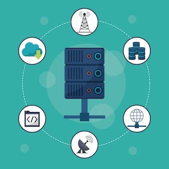 Icono de servidor en primer plano y los iconos de redes alrededor