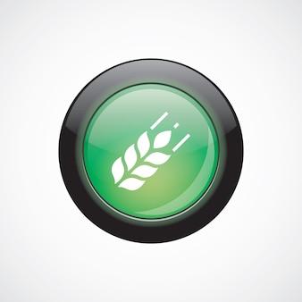 Icono de signo de vidrio de agricultura botón verde brillante. botón del sitio web de interfaz de usuario