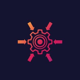 Icono del sistema de integración con rueda dentada