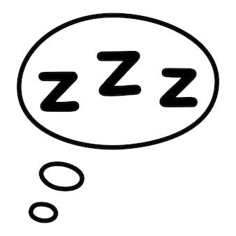 Icono de sueño zzz. zzzz dibujado a mano en bocadillo