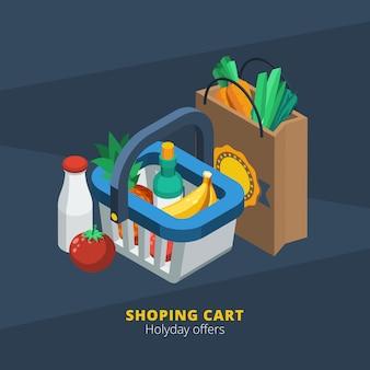 Icono de supermercado isométrico