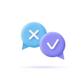 Icono de tareas de asignación. burbujas de discurso con marcas. ilustración de vector 3d.