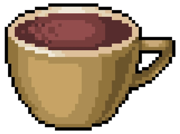 Icono de taza de café pixel art set bit
