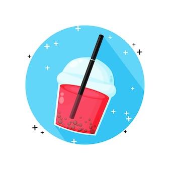 Icono de té de burbujas aislado en blanco