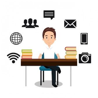 Icono de la tecnología de comunicación de internet aislado