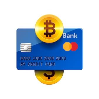 Icono de tecnología de criptomonedas, intercambio de bitcoins, minería de bitcoins, banca móvil. bitcoin, tarjeta de crédito, dólar, ilustración.