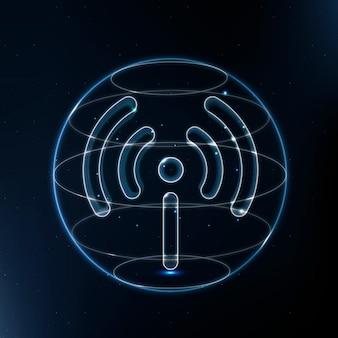 Icono de tecnología de red hotspot en azul sobre fondo degradado