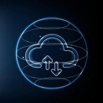 Icono de tecnología de red en la nube en azul sobre fondo degradado