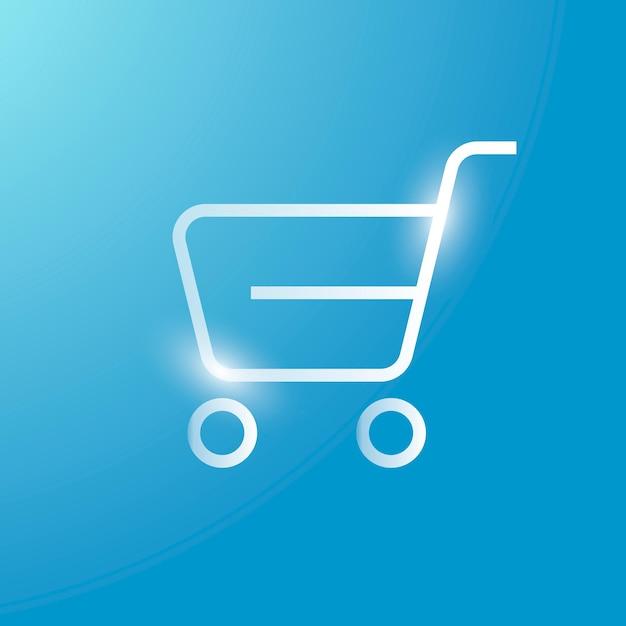 Icono de tecnología de vector de carro de compras en plata sobre fondo degradado
