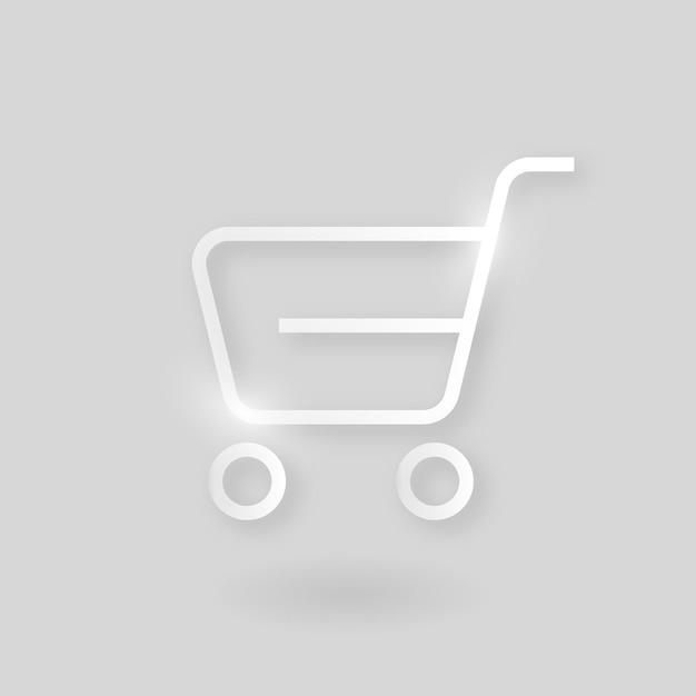 Icono de tecnología de vector de carro de compras en plata sobre fondo gris