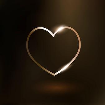 Icono de tecnología de vector de corazón en oro sobre fondo degradado